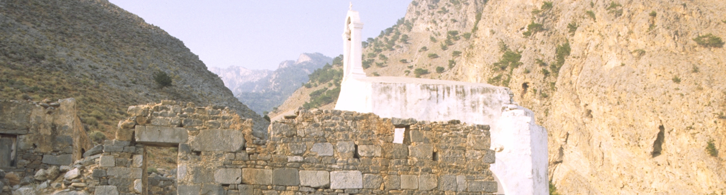 Stacked sanctuaries at the mouth of the Samaria Gorge, Sphakia, Crete: Classical temples, Late Roman basilica, Venetian-period church. Photo: O. Rackham, July 1987.