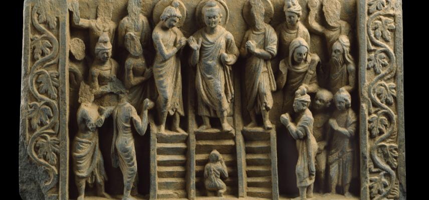EA2000.35 Relief depicting the Buddha's descent from the Heaven of the Thirty-three gods, 3rd century AD. Image © Ashmolean Museum, University of Oxford.
