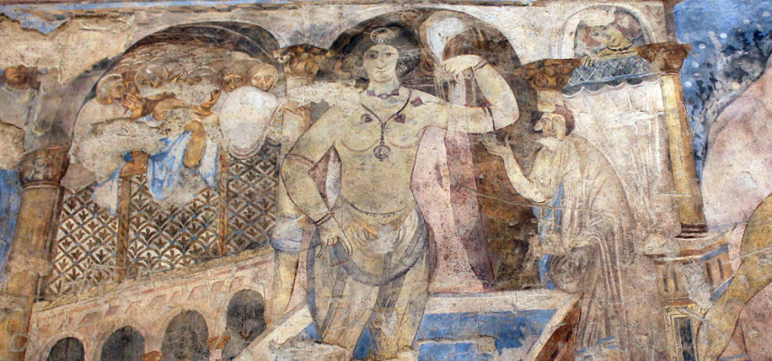 Early Islamic wall-painting in Qusayr Amra bathhouse, Jordan