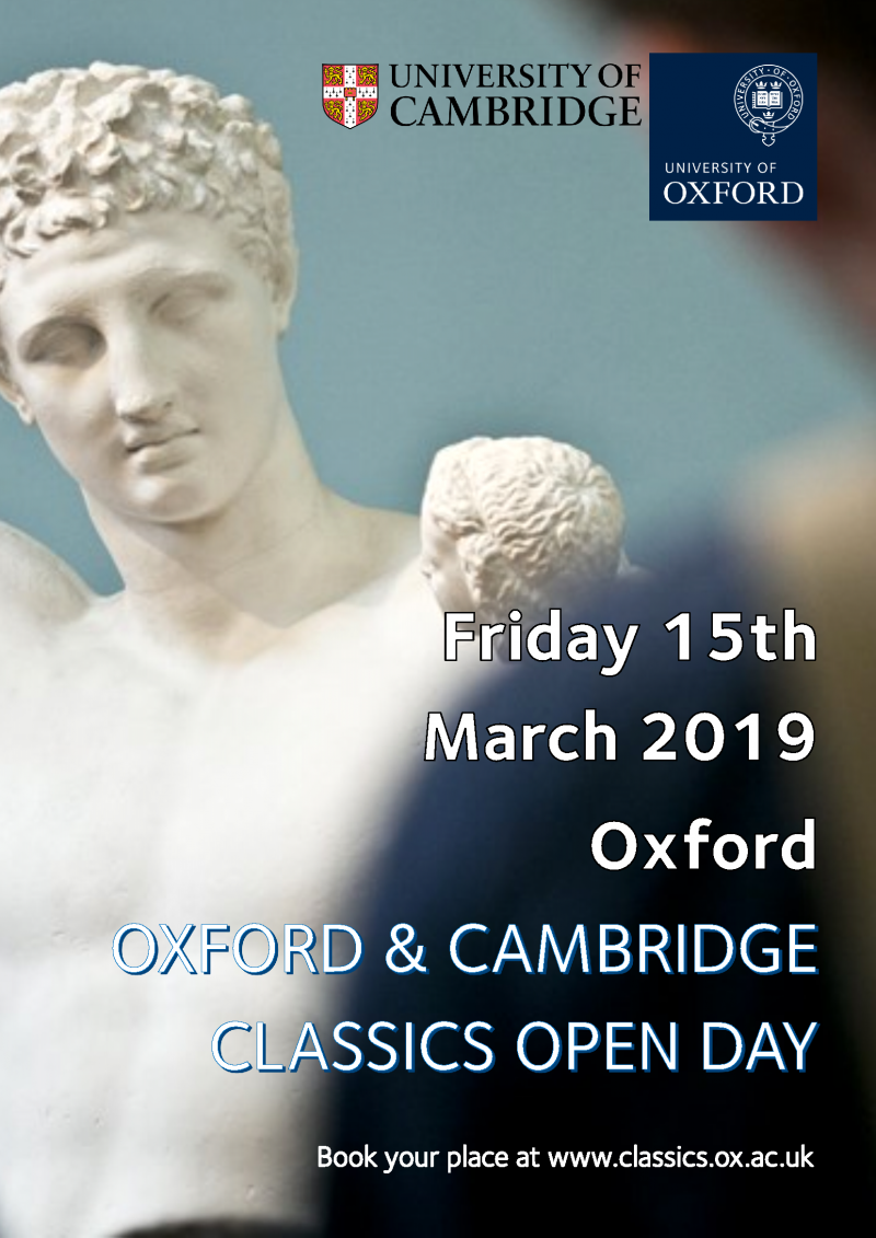 oxford and cambridge classics open day poster