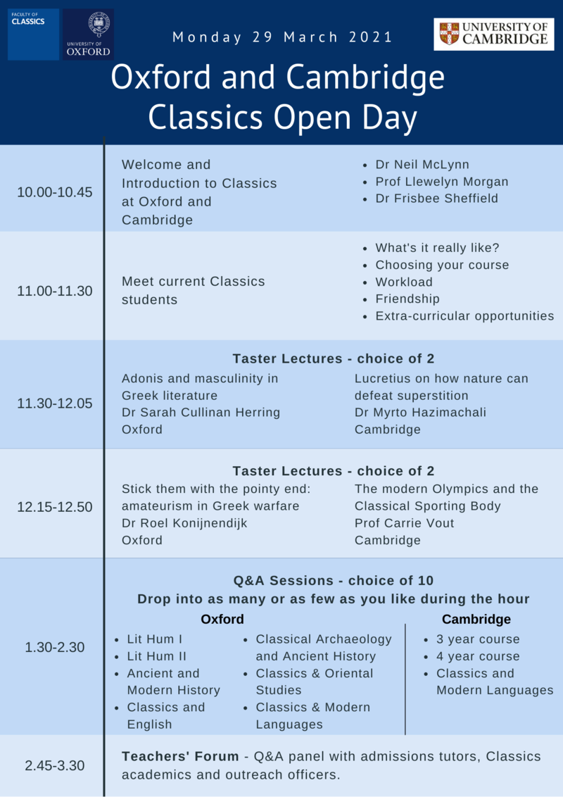 oxford classics open day programme
