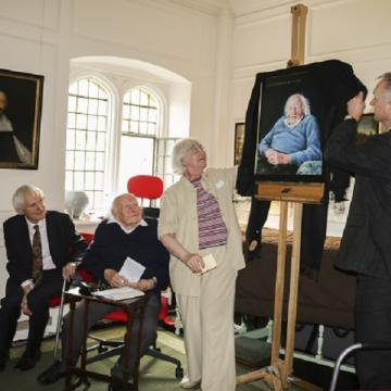 Portrait of Professor Donald Russell by Mark Hancock unveiled (c) St John's College, Oxford