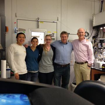 (left to right) Dr. Audrey Yau, Dr. Monica Arienzo, Elisabeth Thompson, Professor Andrew Wilson, Professor Joe McConnell.